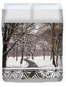 Snow In Central Park Duvet Cover