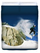 Snowboarder Jumping Off A Big Rock Duvet Cover