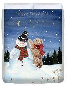 Snowman In Top Hat Duvet Cover by Gordon Lavender