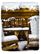 Snowy Coffee Holiday Card Duvet Cover