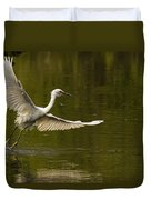 Snowy Egret Fishing In Florida Duvet Cover