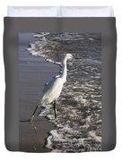 Snowy Egret Walking Duvet Cover