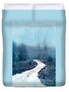 Snowy Foggy Rural Path Duvet Cover