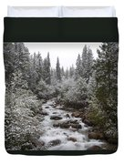 Snowy Foliage Along Stream In Autumn Duvet Cover