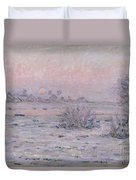 Snowy Landscape At Twilight Duvet Cover
