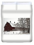 Snowy Red Barn Duvet Cover