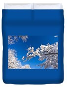 Snowy Trees And Blue Sky Duvet Cover