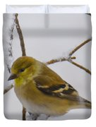 Snowy Yellow Finch Duvet Cover
