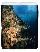 Soft Coral Seascape And Rainbow Duvet Cover