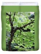 Soft Green Leaves Duvet Cover