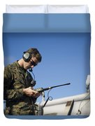 Soldier Conducts A Communications Check Duvet Cover