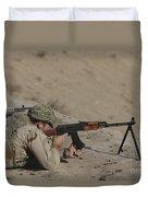 Soldier Fires A Russian Rpk Kalashnikov Duvet Cover