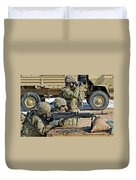 Soldier Firing A M240b Machine Gun Duvet Cover