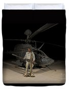 Soldier Holding A .50 Caliber Machine Duvet Cover