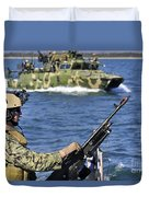 Soldier Mans A M240g Machine Gun While Duvet Cover