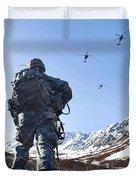 Soldier Patrols Through Alaska's Duvet Cover