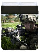 Soldier Provides Security Duvet Cover