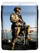 Soldier Stands Watch Aboard Uss Momsen Duvet Cover