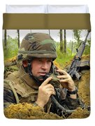 Soldier Using A Ta-1 Sound Powered Duvet Cover