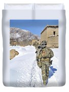 Soldiers Conduct A Patrol In Shah Joy Duvet Cover