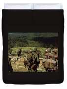 Soldiers Descend The Side Of Hill 742 Duvet Cover