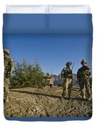 Soldiers Discuss A Strategic Plan Duvet Cover