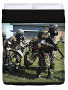 Soldiers Dressed In Chemical Warfare Duvet Cover