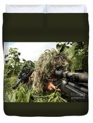 Soldiers Dressed In Ghillie Suits Duvet Cover