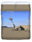 Soldiers Execute A High Angle Fire Duvet Cover