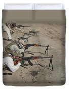 Soldiers Fire A Russian Rpk Kalashnikov Duvet Cover