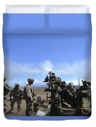 Soldiers Firing The M777 Howitzer Duvet Cover