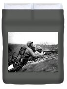 Soldiers Locate Enemy Position On A Map Duvet Cover