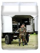 Soldiers Of An Infantry Section Duvet Cover