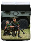 Soldiers Of An Infantry Unit Duvet Cover