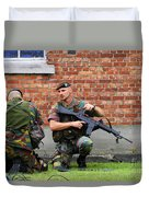 Soldiers Of The Belgian Army Helping Duvet Cover