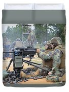 Soldiers Operate A Mk-19 Grenade Duvet Cover by Stocktrek Images