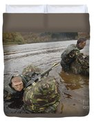 Soldiers Participate In A River Duvet Cover