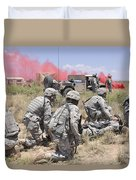 Soldiers Prepare To Transport A Wounded Duvet Cover