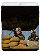 Soldiers Provide Security Duvet Cover