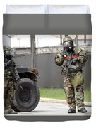Soldiers Stand Guard At An Intersection Duvet Cover