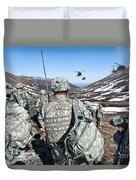 Soldiers Wait For Uh-60 Black Hawk Duvet Cover