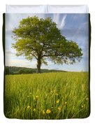 Solitary Oak Tree And Wildflowers In Duvet Cover