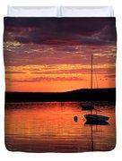 Solitary Sailboat At Sundown Duvet Cover