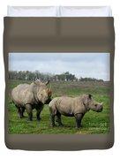 Southern White Rhinos Duvet Cover