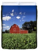 Soybean Field And Red Barn Near Anola Duvet Cover