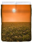 Soybean Field On A Misty Morning Duvet Cover