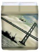 Space Shuttle And San Francisco Bay Bridge  Duvet Cover