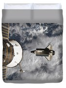 Space Shuttle Atlantis And The Docked Duvet Cover