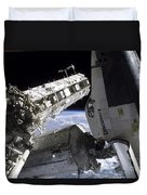 Space Shuttle Discovery Docked Duvet Cover