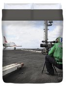 Specialist Records Video Of Flight Deck Duvet Cover